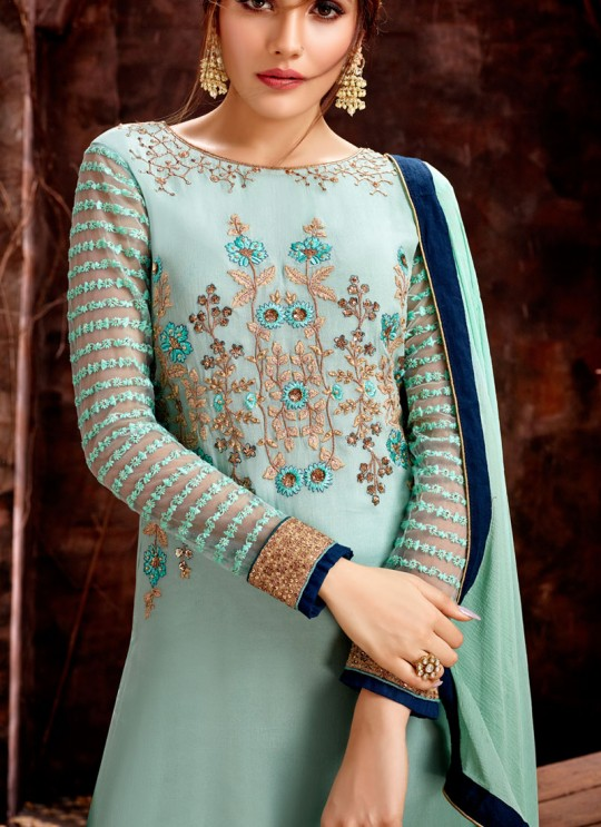Blue Party Wear Georgette Straight Cut Suit Mishti 5127 By Hotlady SC/015922
