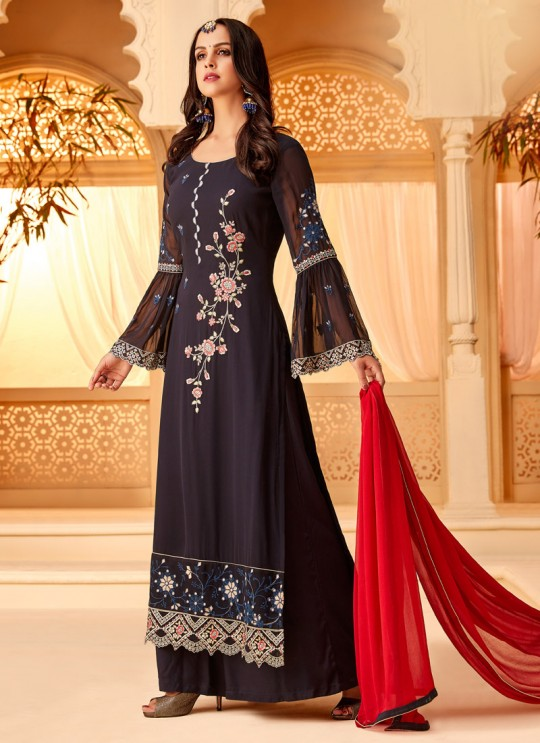 Black Georgette Embroidered Party Wear Staraight Cut Suit Myra Vol 3 5116 By Hotlady SC/015358