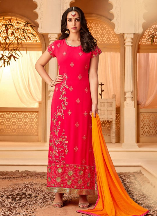Pink Georgette Embroidered Party Wear Staraight Cut Suit Myra Vol 3 5112 By Hotlady SC/015354