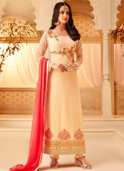 1ef057b0a3 Cream Georgette Embroidered Party Wear Staraight Cut Suit Myra Vol 3 5113  By Hotlady SC/