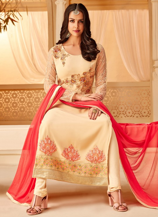 Cream Georgette Embroidered Party Wear Staraight Cut Suit Myra Vol 3 5113 By Hotlady SC/015355