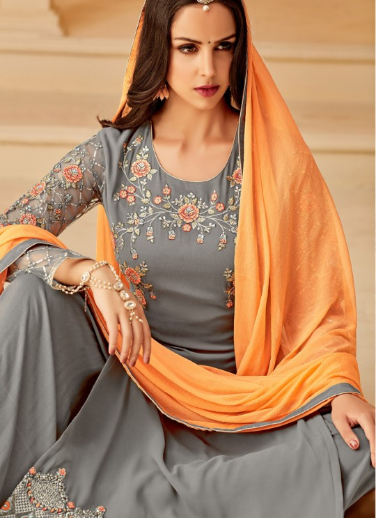 Grey Georgette Embroidered Party Wear Staraight Cut Suit Myra Vol 3 5114 By Hotlady SC/015356