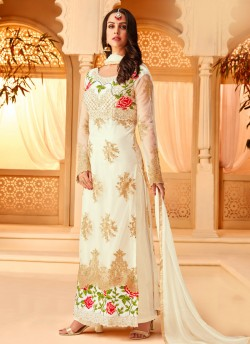 2360f38877 Off White Net Embroidered Party Wear Staraight Cut Suit Myra Vol 3 5115 By  Hotlady SC