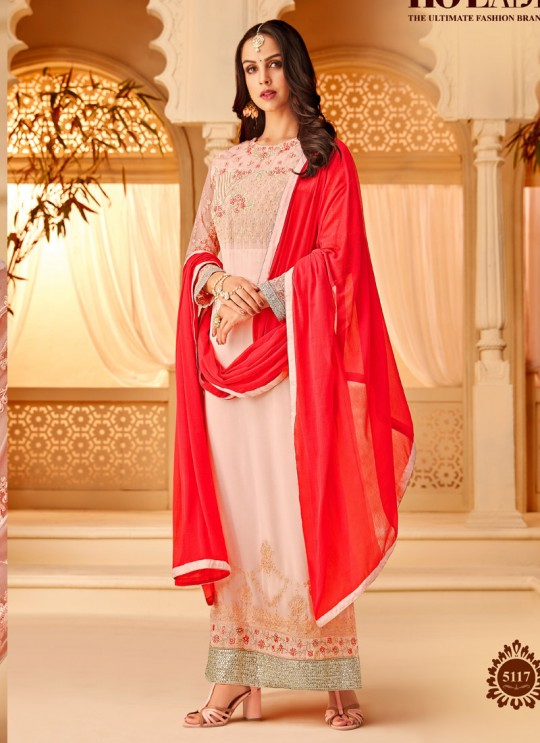 Pink Georgette Embroidered Party Wear Staraight Cut Suit Myra Vol 3 5117 By Hotlady SC/015359
