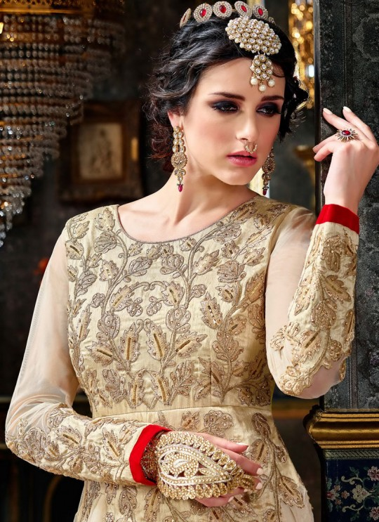 Cream Net Resham Embroidered Floor Length Anarkali Suit Shaheeba 5771 By Hotlady SC/003620