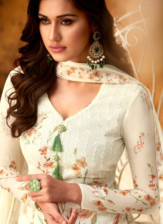 Off White Georgette Palazzo Style For Ceremony Fulkari 7171 By Hotlady SC/016350