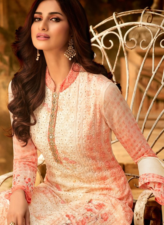 Orange Georgette Palazzo Style For Ceremony Fulkari 7172 By Hotlady SC/016351