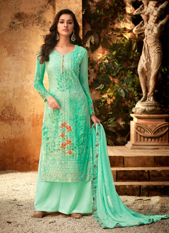 Sea Green Georgette Palazzo Style For Ceremony Fulkari 7173 By Hotlady SC/016352