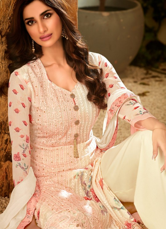 Peach Georgette Palazzo Style For Ceremony Fulkari 7174 By Hotlady SC/016353