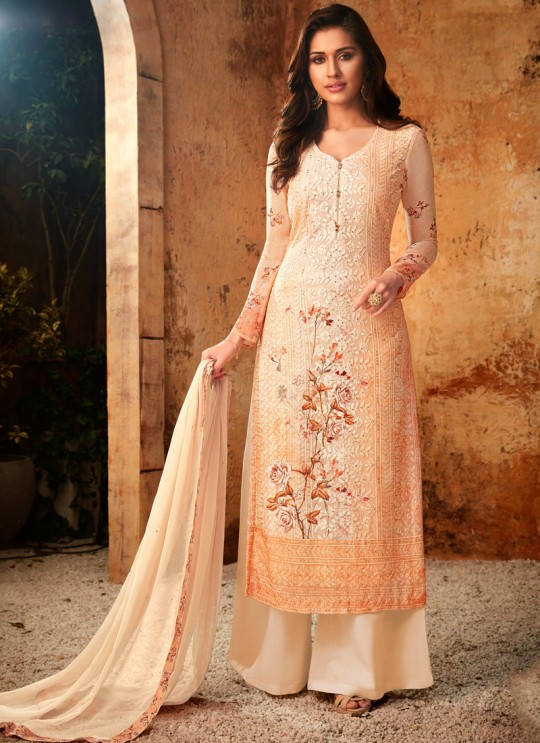 Orange Georgette Palazzo Style For Ceremony Fulkari 7176 By Hotlady SC/016355