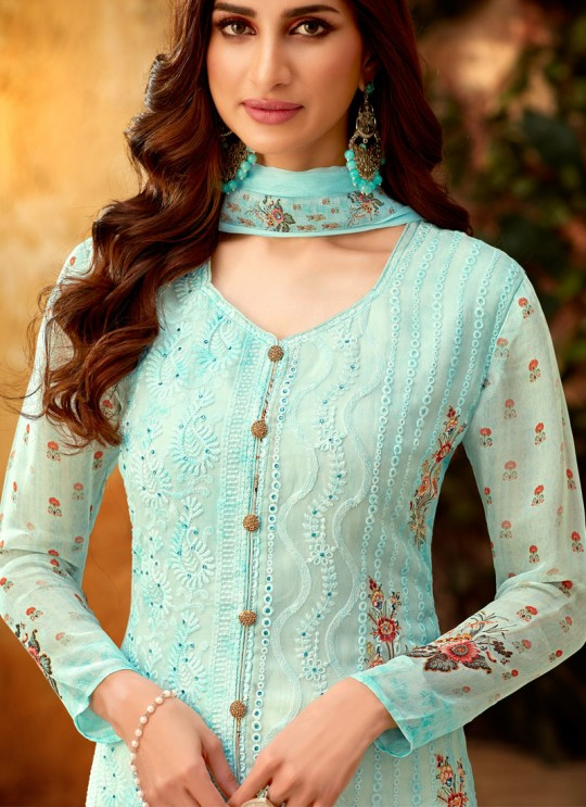 Turquoise Georgette Palazzo Style For Ceremony Fulkari 7177 By Hotlady SC/016356