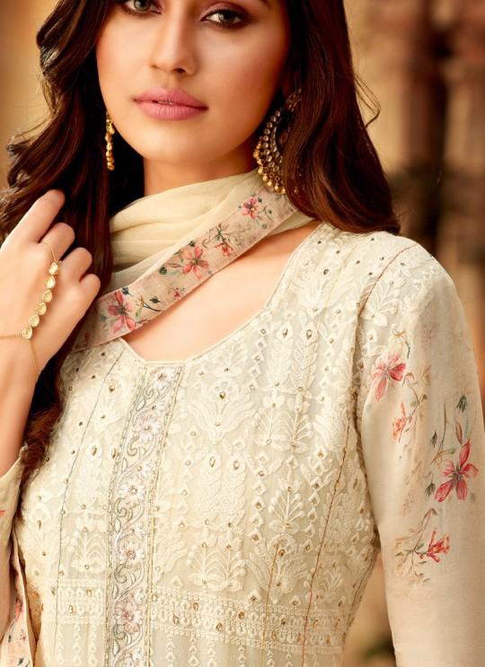 Cream Georgette Palazzo Style For Ceremony Fulkari 7178 By Hotlady SC/016357