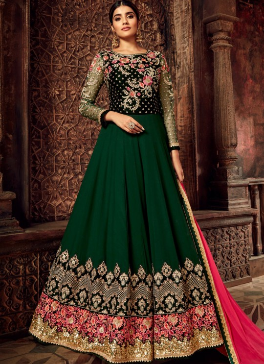 Green Pure Georgette Anarkali Suit Nairaa 7713 By Hotlady SC-017436