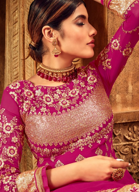 Pure Georgette Wedding Anarkali Churidar In Pink Color Nairaa 7714 By Hotlady SC-017437