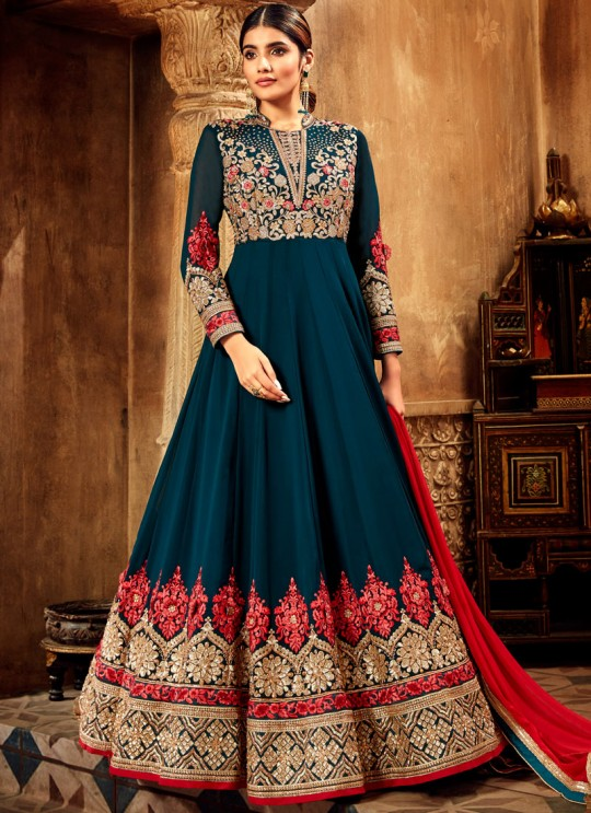 Wedding Wear Floor Length Anarkali Suit In Red Nairaa 7715 By Hotlady SC-017438