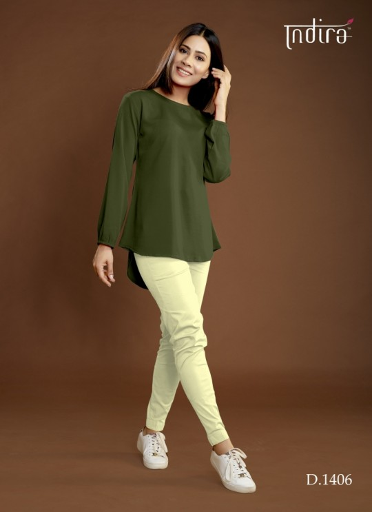 Olive Viscose Georgette Casual Wear Indo-Western Full Set Forever 1406 By Indira Apparel SC/IA1406