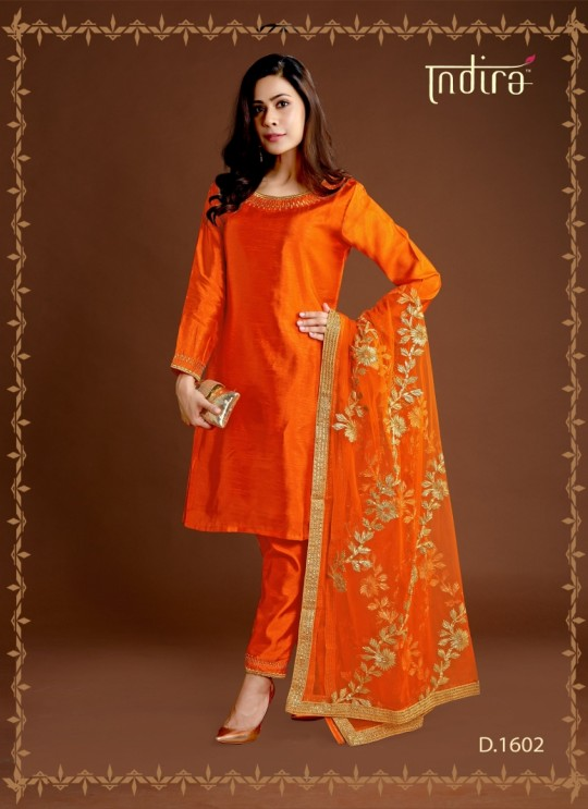Orange Silk Party Wear Ready Made Suits Full Set Hayat Readymade 1602 By Indira Apparel SC/IA1602