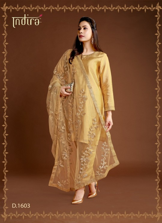 Gold Silk Party Wear Ready Made Suits Full Set Hayat Readymade 1603 By Indira Apparel SC/IA1603