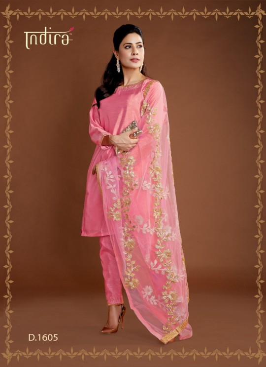 Pink Silk Party Wear Ready Made Suits Full Set Hayat Readymade 1605 By Indira Apparel SC/IA1605