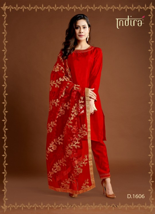 Red Silk Party Wear Ready Made Suits Full Set Hayat Readymade 1606 By Indira Apparel SC/IA1606
