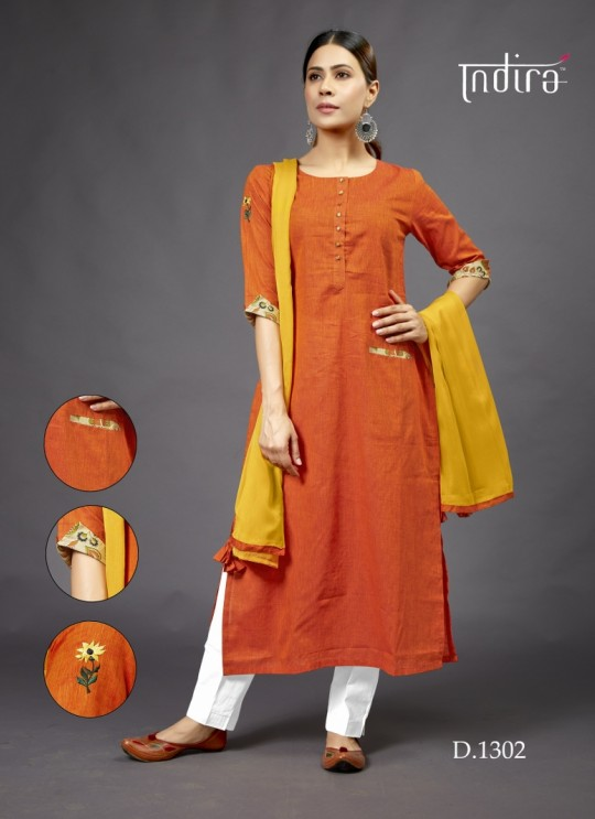 Orange  Casual Wear Kurti Full Set Sada Bahar 1302 By Indira Apparel SC/IA1302