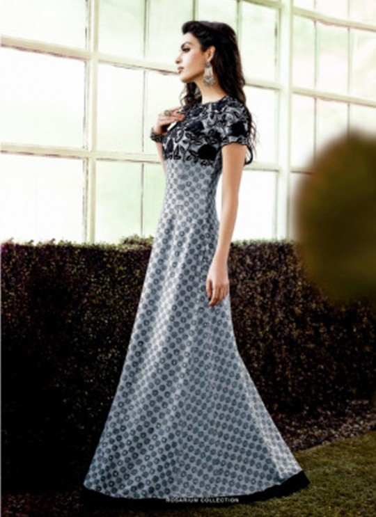 Grey Crepe Wedding Gown Floral 1014 By Jinaam Dresses SC/000082