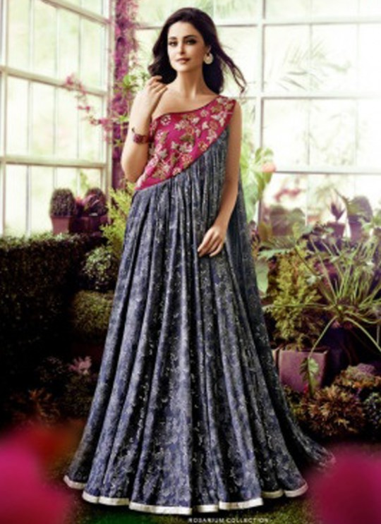 Grey Crepe Wedding Gown Floral 1015 By Jinaam Dresses SC/000083