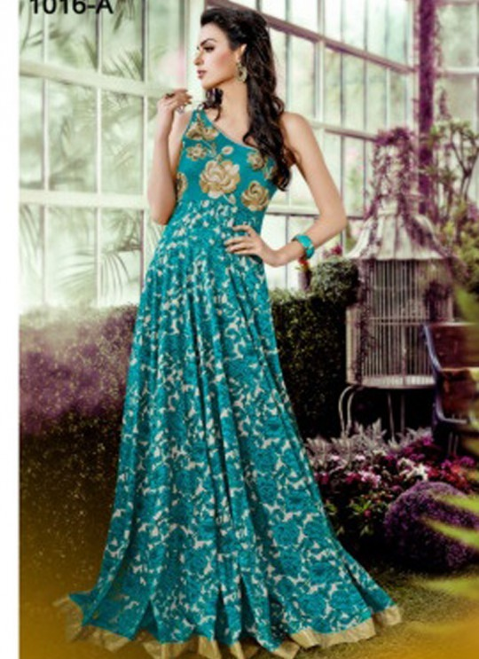 Green Crepe, Lawn Cotton Wedding Gown Floral 1016 Colors 1016A By Jinaam Dresses SC/000084