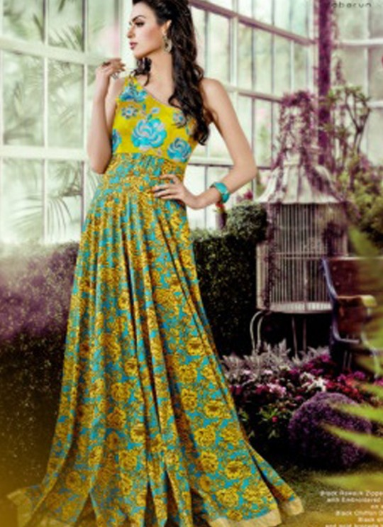 Mustard Crepe, Lawn Cotton Wedding Gown Floral 1016 Colors 1016B By Jinaam Dresses SC/000085