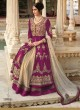 Magenta Velvet Wedding Floor Length Anarkali Floral 7299 Colors 7299B By Jinaam Dresses SC/001734