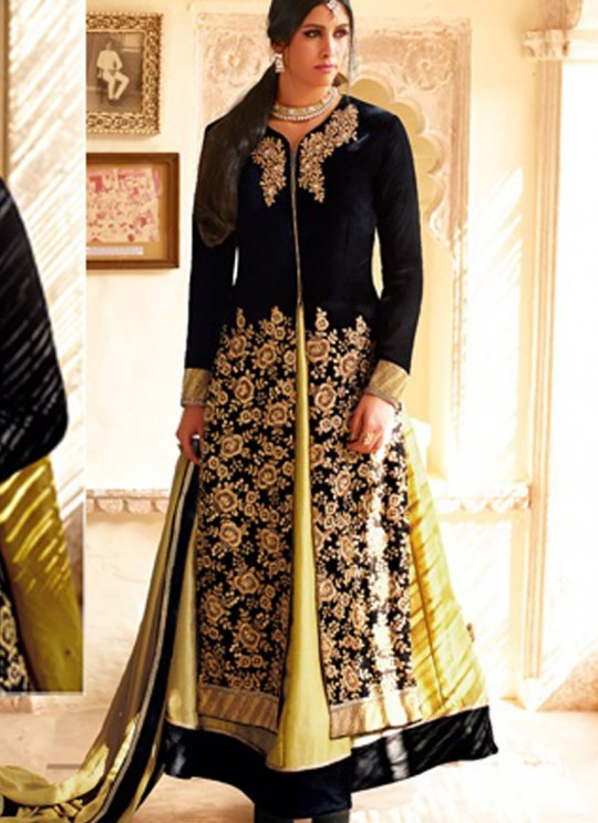 Black Velvet Wedding Skirt Kameez Floral 7307 By Jinaam Dresses SC/000090