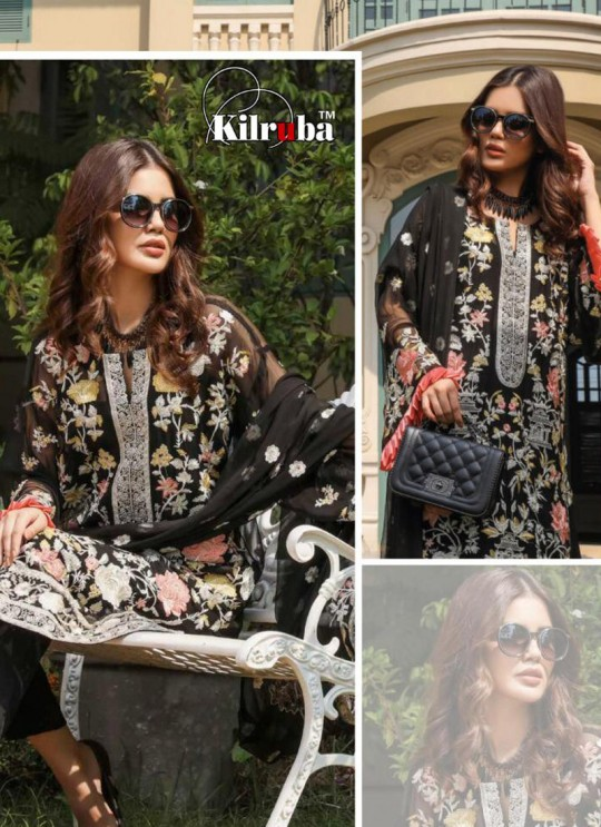 Black Georgette Embroidered Pakistani Suits Jannat Premium 07A Color By Kilruba SC/013830