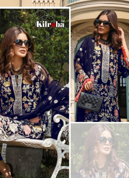 Blue Georgette Embroidered Pakistani Suits Jannat Premium 07B By Kilruba SC/013829