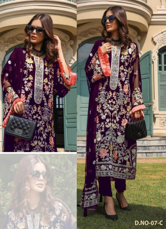 Magenta Georgette Embroidered Pakistani Suits Jannat Premium 07C By Kilruba SC/013829