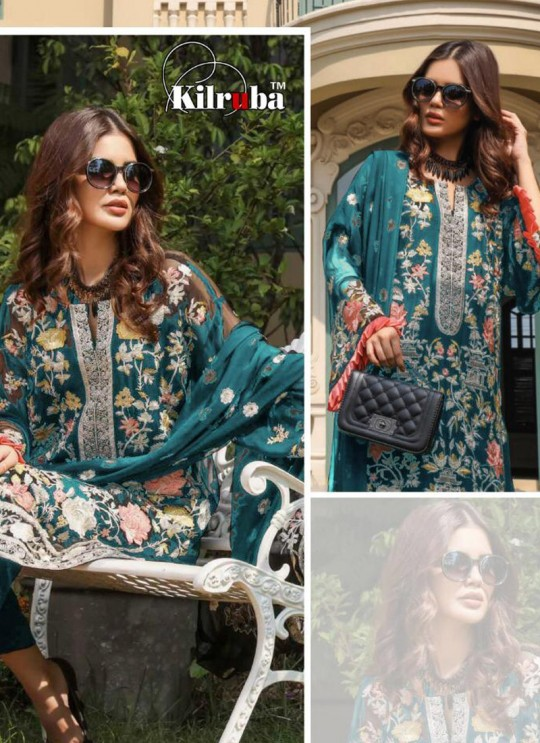 Teal Blue Georgette Embroidered Pakistani Suits Jannat Premium 07D Color By Kilruba SC/013833