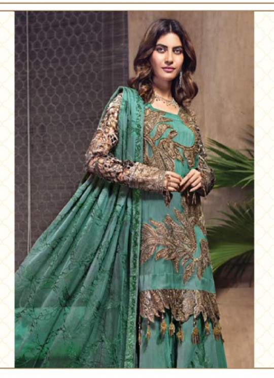 Jannat Attraction 11002 Colours BY Kilruba 11002A Teal Green Designer Pakistani Shalvar Kameez SC/017689