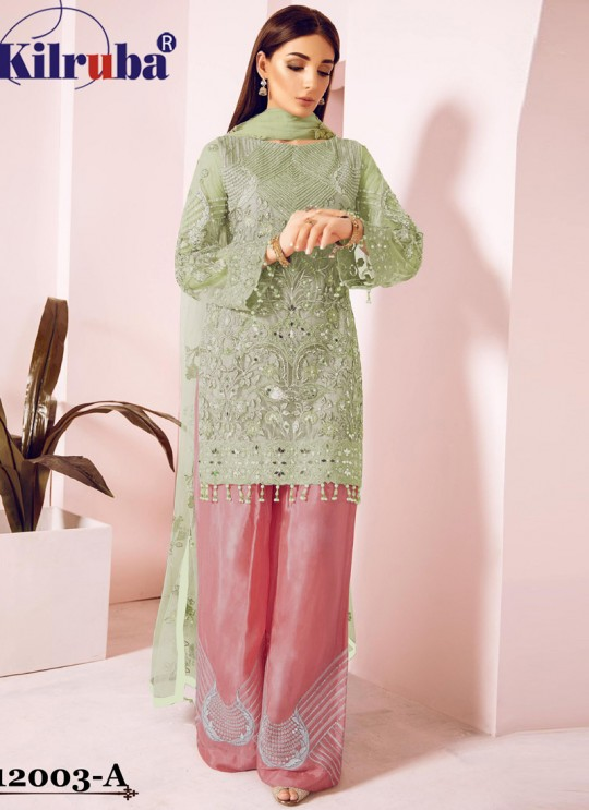 Green Eid Wear Pakistani Suit Jannat Freesia 12003 Colours 12003A By Kilruba SC/018068