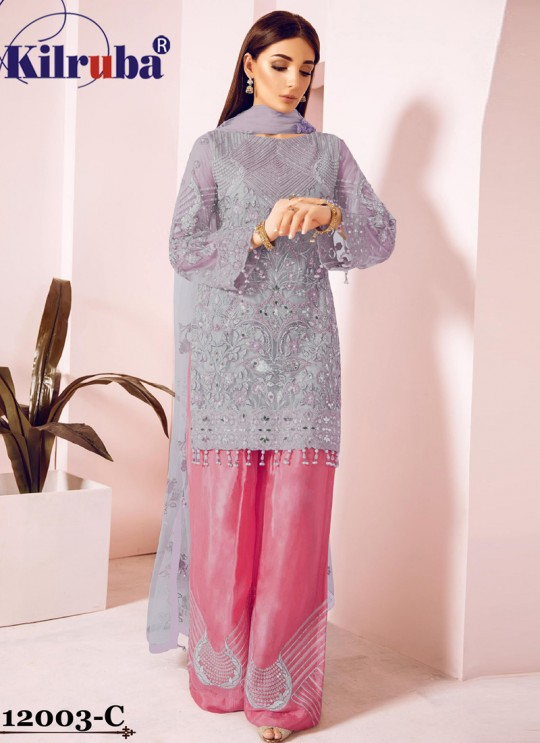 Grey Eid Wear Pakistani Suit Jannat Freesia 12003 Colours 12003C By Kilruba SC/018070