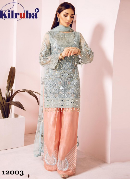 Grey Eid Wear Pakistani Suit Jannat Freesia 12003 Colours 12003R By Kilruba SC/017389
