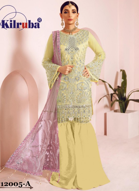 Yellow Net Eid Wear Pakistani Suit Jannat Freesia 12005 Colours 12005A By Kilruba SC/018065