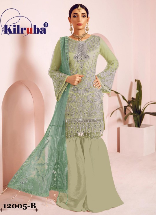Green Net Eid Wear Pakistani Suit Jannat Freesia 12005 Colours 12005B By Kilruba SC/018066