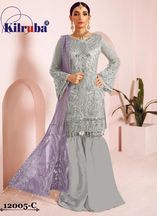 Grey Net Eid Wear Pakistani Suit Jannat Freesia 12005 Colours 12005C By Kilruba SC/018067