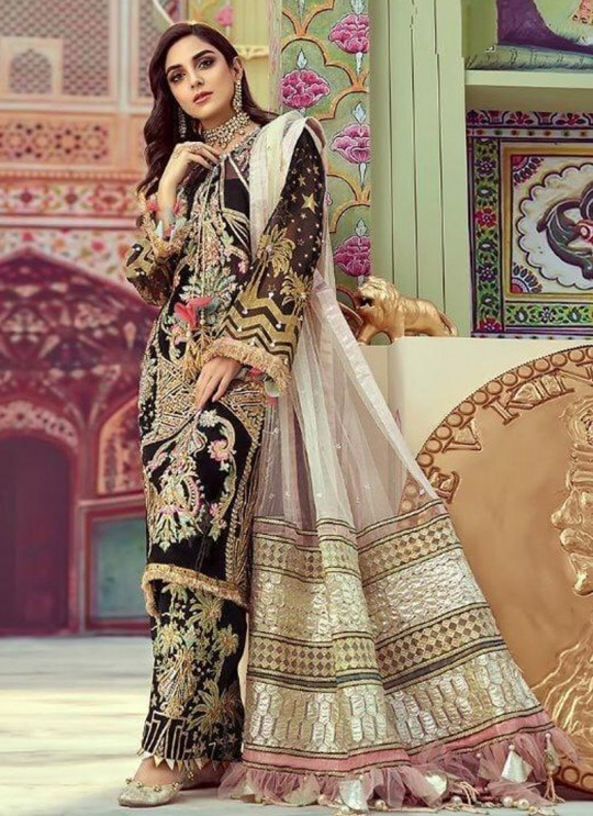 Black Georgette Party Wear Salwar Suit Mix Hit Suits By Kilruba SC014227