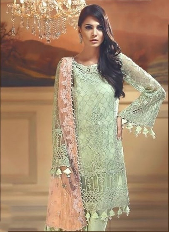Green Organza Designer Pant Style Suit Mix Hit Suits By Kilruba SC013310