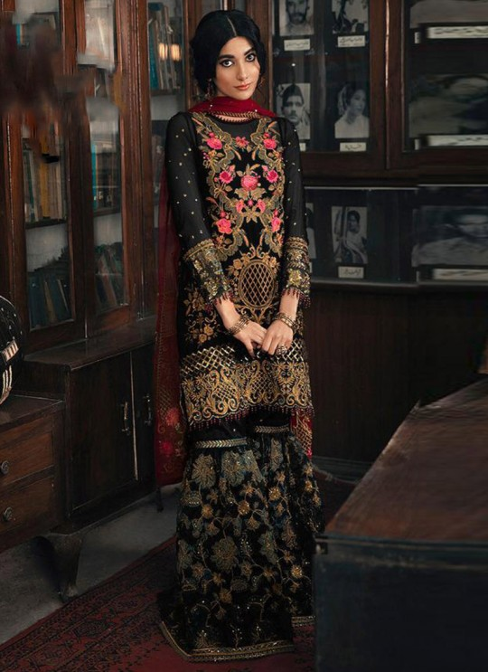 Black Georgette Pakistani Garara Suit 1962 Colours By Kilruba SC017239