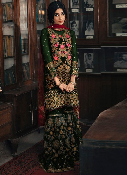 Green Georgette Pakistani Garara Suit 1962 Colours By Kilruba SC017187