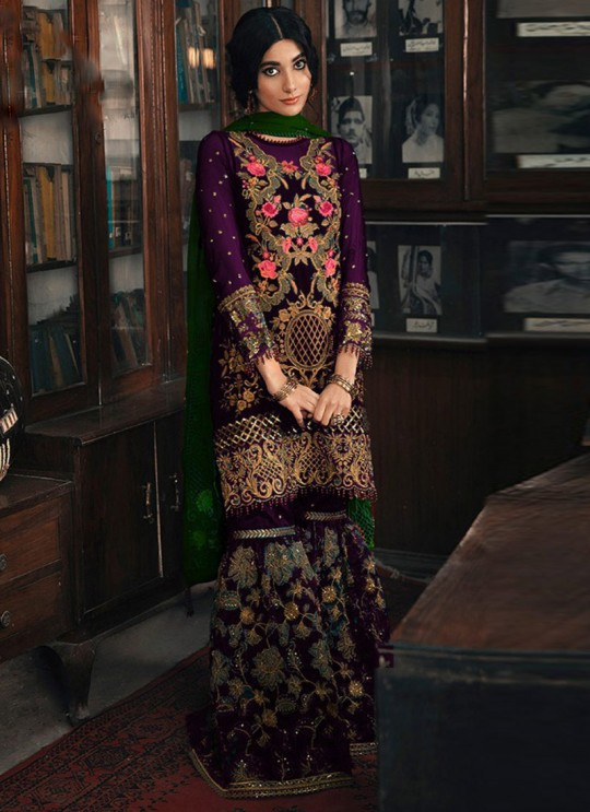 Purple Georgette Pakistani Garara Suit 1962 Colours By Kilruba SC017238