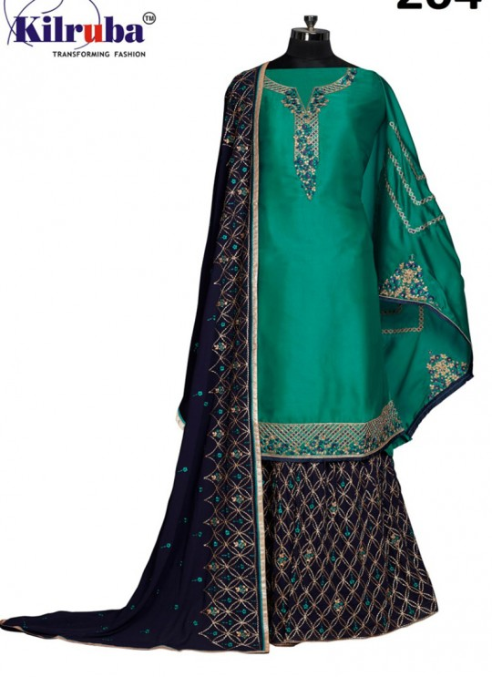 Green Georgette Embroidered Sharara Kameez 201 to 205 Series 204 By Kilruba SC/013928