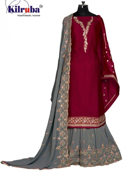 Maroon Georgette Embroidered Sharara Kameez 201 to 205 Series 205 By Kilruba SC/013929