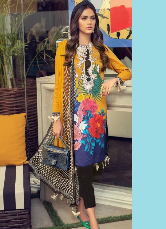 Muzlin Lawn Collection 2020 By Kilruba 21001 Pure Cotton Pakistani Suit In Yellow